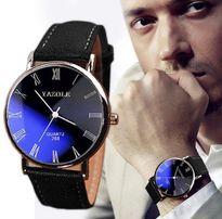 zegarek męski skórzany lustrzanka niebieska