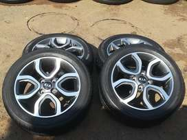 Kia mags and tyres 4/100  15inch set