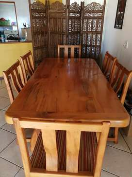 6 seater - Yellow wood sleeper dinning table