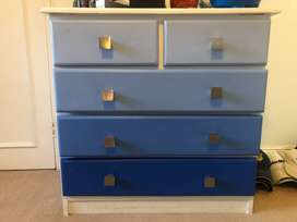 Wooden Pine chest of drawers and matching pedestal