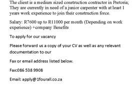 Carpenter with at least 1 years work experience needed in Pretoria
