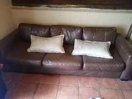 L Shaped Grey couch, Brown Leather 3 seater couch, Small fridge