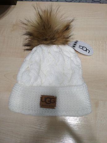 Шапка белая UGG, шапка синяя Борисполь - изображение 1