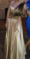 Платье в пол. Вечернее платье. Золотое