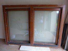 Okno drewniane sosnowe 3-szyby Kolor teak Wym. 205x147 cm Niższa cena!