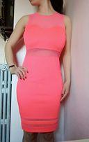 Różowa neonowa neon sukienka midi tuba róż bodycon siateczka siatka