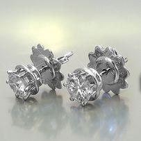 Пусеты с бриллиантами модели DAMIANI