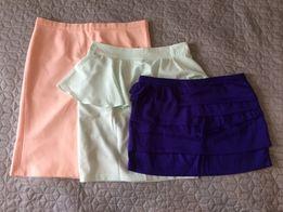 3 x spódnice kolorowe piękne pastelowa miętowa brzoskwiniowa kobaltowa