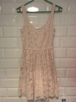 Koronkowa krótka mini sukienka koronka biała kremowa Zara S sylwester