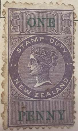 1881 New Zealand one penny stamp duty stamp