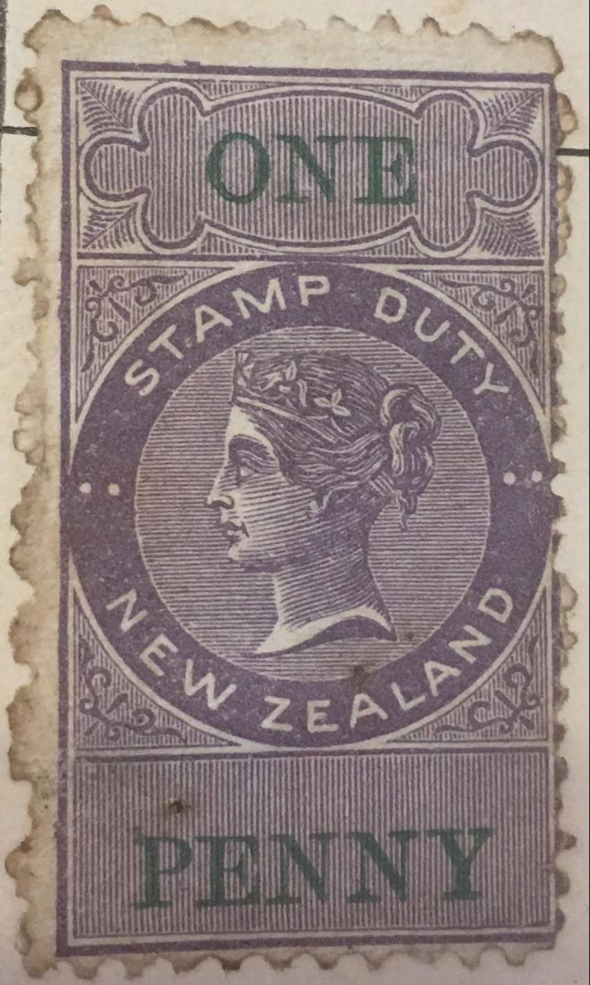 1881 New Zealand one penny stamp duty stamp 0