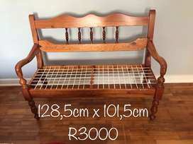 Solid yellow wood bench