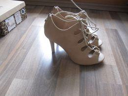 Szpilki sandałki beżowe nude NOWE, niechodzone z oryginalnym pudełkiem