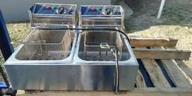 Double bowl chip fryer for sale
