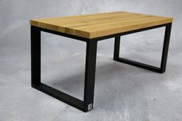 stolik kawowy dębowy ława drewno stal dąb loft industrialny