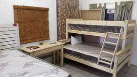 Tri bunk (excludes mattresses) and desk