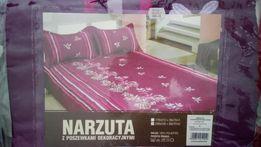 Nowa narzuta na łóżko i dwie poszewki na poduszki
