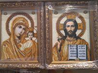 Иконы из бисера. Картна из бисера. Венчальные иконы чешским бисером.