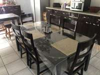 Image of dining room table with side table
