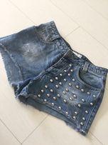 Spodenki jeansowe krótkie z dżetami