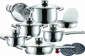 Brand New! 16 piece German Design Cookware Set - Stainless Steel Pots