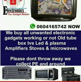 Old tube tvs and led tvs