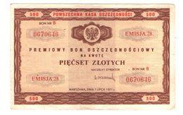 Premiowy bon oszczędnościowy na kwotę 500 zł 1971r emisja 28 nr B[b183