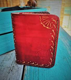 Red Wax Painted Bifold wallet