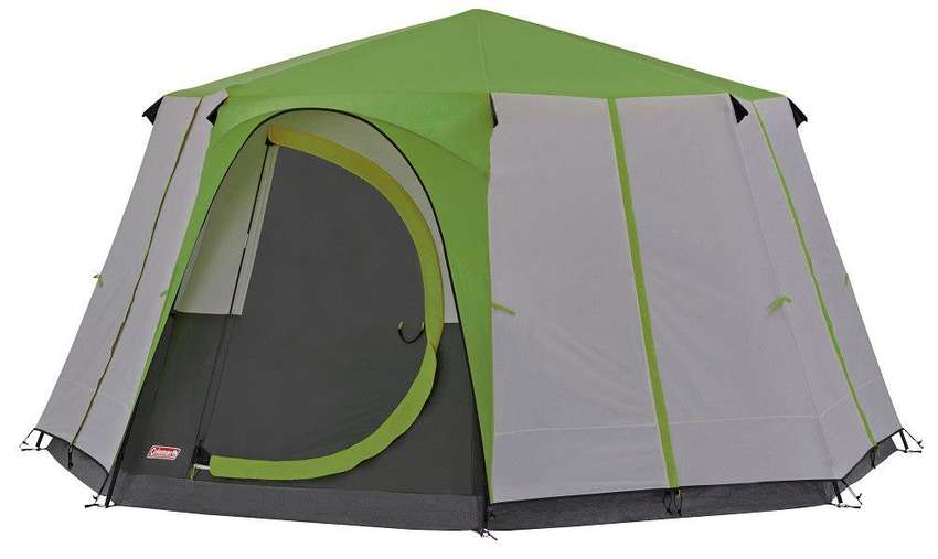collective camping set up includes tent, table, chairs, gazebo
