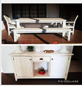 Farmhouse style  dining set and server