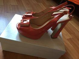 Туфли женские коралловые кожаные, размер 40