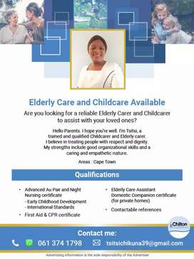 Nanny/Ederly care available