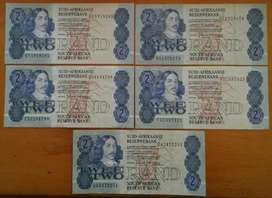 Set of x5 S.A 1980's R2 notes