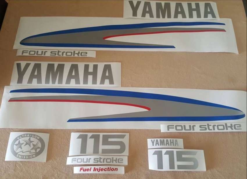 Yamaha four stroke outboard motor cowl graphics decals kits 0
