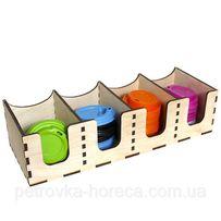 Органайзер для крышек горизонтальный деревянный чёрный 40*15 см