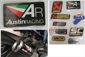Yamaha Austin Racing aluminium exhaust silencer badge decal