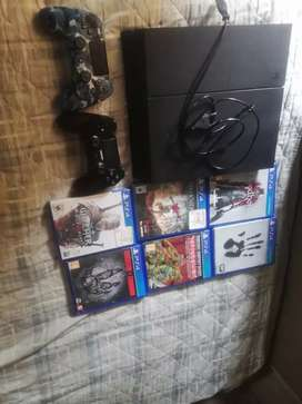 Ps 4 +6 games 2 remotes power +hdmi  cable