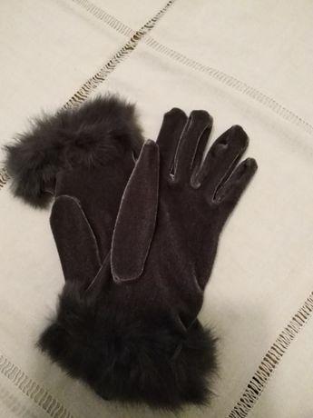 rękawiczki z aksamitu popielate Jarosław - image 2