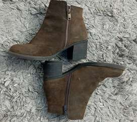 Dark green leather ankle boot