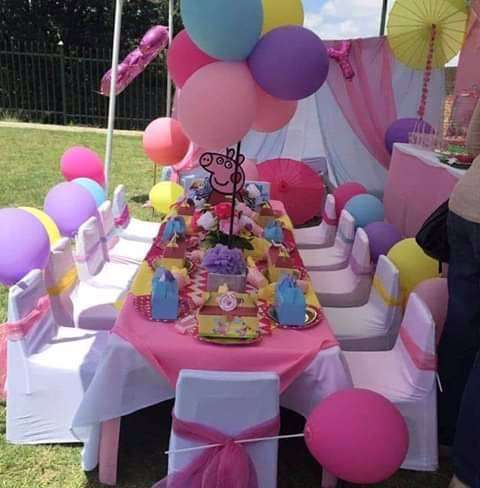 decor for kids party including jumping  castle, stretch tent and cake 0