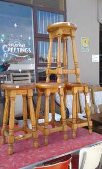 Image of Solid Oak Bar Stools