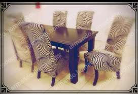 New 7pc fabric dining set with zebra print and mahoghany table