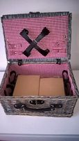 kufer walizka wiklinowa zestaw piknikowy