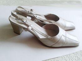 Туфли женские летние бежевые босоножки из натуральной кожи 42 размер