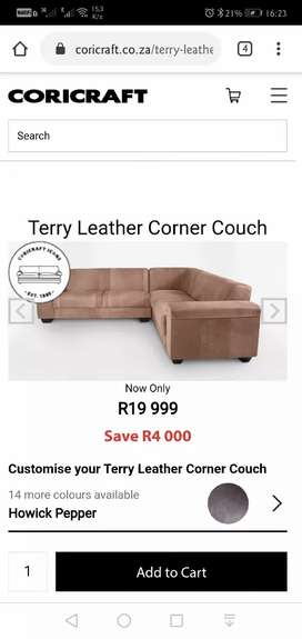 Coricroft Terry Leather Corner Couch