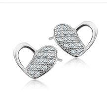 Sprzedam nowe kolczyki serduszka serca srebrne diamenciki YES z metką