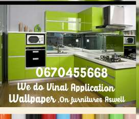We do VIYNL installation on the window, wallpapers, to your carbinates