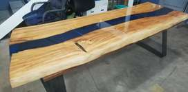 Beautiful River dining table made from MATUME wood with inlaid resin