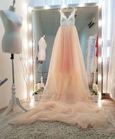 Свадебное выпускное вечернее пудровое персиковое платье