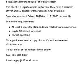 5 Assistant drivers needed for logistics chain